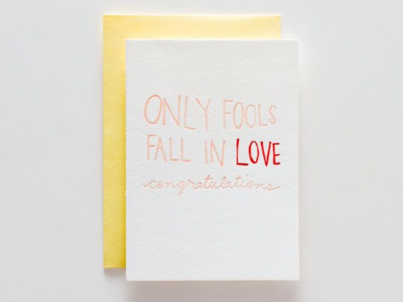 Fools in Love  Letterpress Congratulations by ironcurtainpress