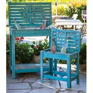Turquoise Stowaway Side Table Decor Camping Furniture
