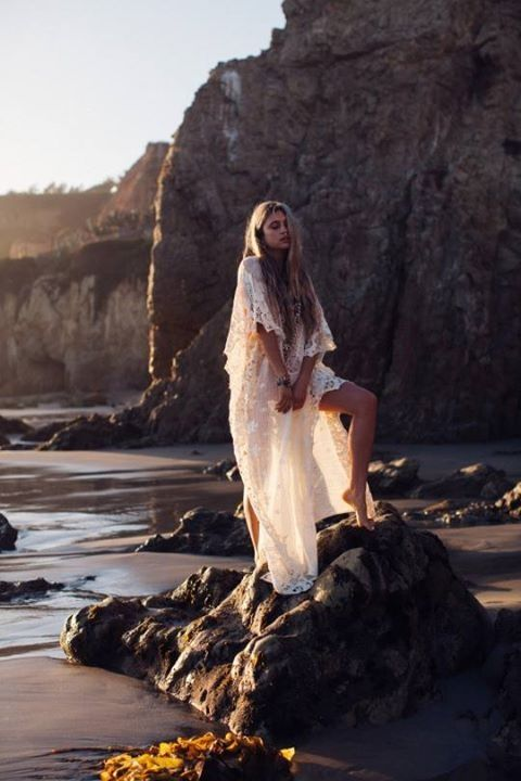 White beach dress boho style sundown