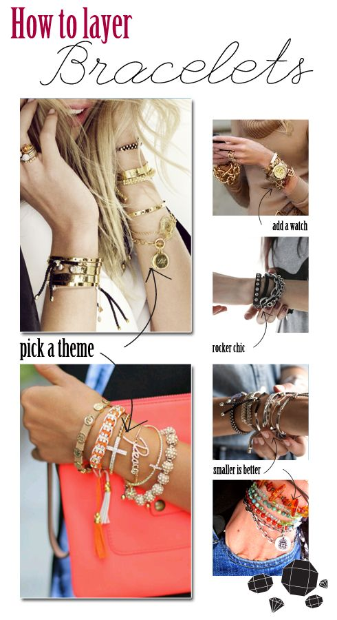Layering bracelets is truly an art, requiring a bit of trial and error before you achieve the perfect mix of colors, sizes and metal finishes. I love this eclectic way of styling jewelry and am con...