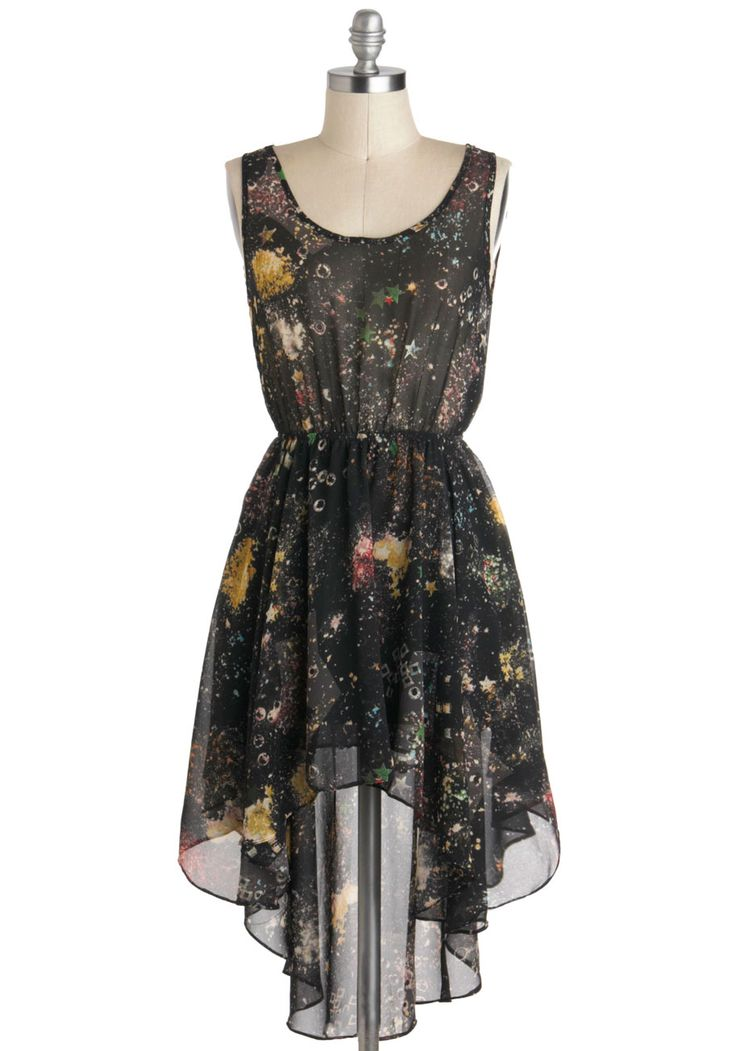 Moon Rock Concert Dress - Black, Multi, Sheer, Short, Print, High-Low Hem, Sleeveless, Casual
