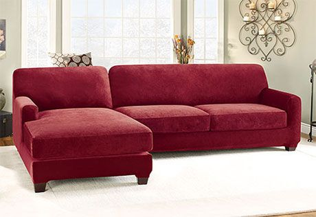 Sure Fit Slipcovers: Stretch Pique Two Seat with Chaise Sectional Covers - Two piece with left and right side chaise #sectional in Garnet