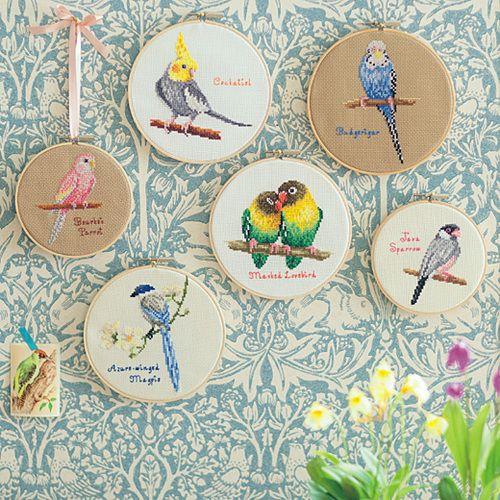 IDEA: grouping of cross-stitch birds