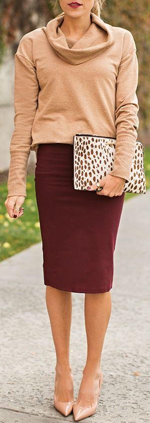 Glamorous Love Language Burgundy Bodycon Midi Skirt