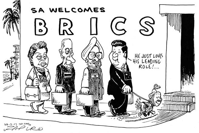 """Le cinquième sommet des Brics sest tenu à Durban du 25 au 27 mars. Les leaders des cinq grands pays émergents (BRICS est lacronyme de Brésil, Russie, Inde, Chine et Afrique du Sud) ont acté le principe dune banque commune de développement - la fameuse """"banque des BRICS"""", une idée lancée lors du sommet de Delhi en 2012.    Mais ils nont annoncé ni le montant du capital de la banque, ni son siège, faute davoir trouvé entre eux un accord. Le chiffre qui a transpiré concernant le cap"""