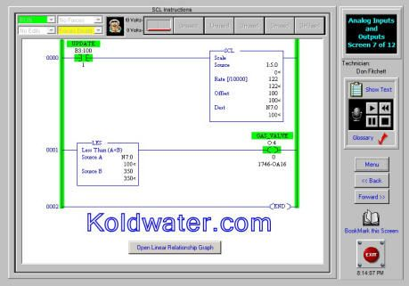 The SCL Instruction and other analog PLC training and simulation at http://koldwater.com/PLCTrainer/