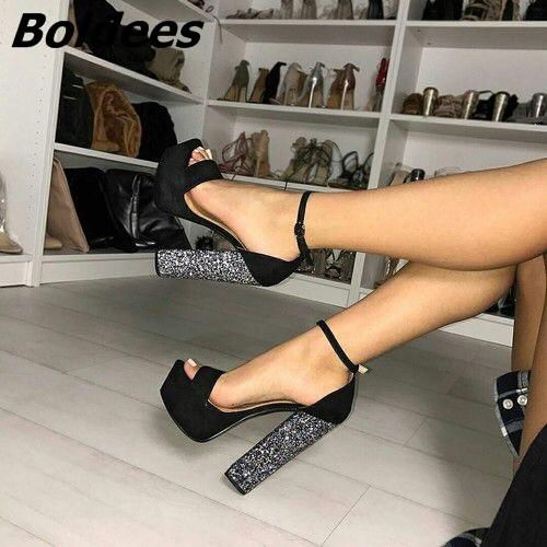 Boldees Chic Black Suede Chunky Heel Platform Sandals Line Buckle Style  OpenToe Glittery Sequins Decorated Block 2aecf465adbc