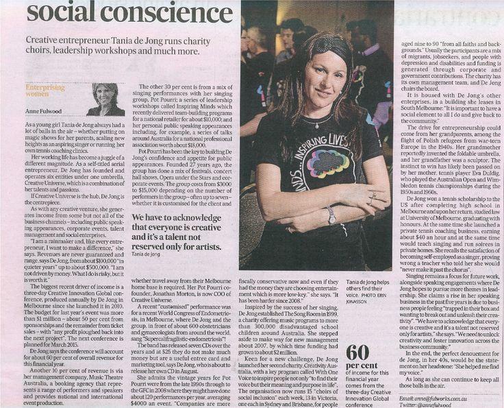 Juggler with a social conscience, AFR, June 7-8 2014 #creativity #social #singing