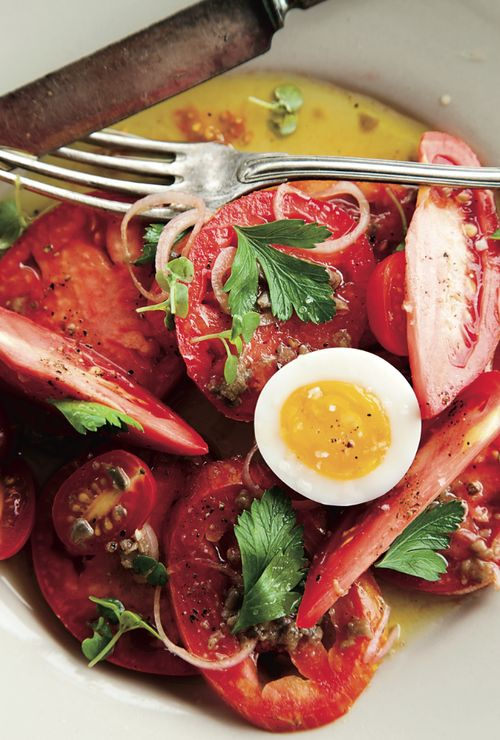 © John Kernick  Heirloom Tomato Salad with Anchovy Vinaigrette Recipe  Contributed by Amelia O'Reilly and Nico Monday  Click here for full recipe: Monday Click, Food, Vinaigrette Recipe, Full Recipe, Tomato Salad, Heirloom Tomatoes