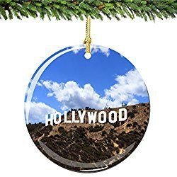 Los Angeles Christmas Ornament Hollywood Double Sided California