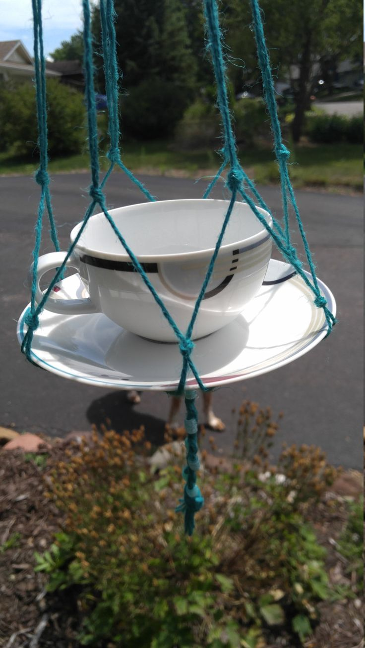 Teacup Bird Feeder, Contemporary Bird Feeder, Hanging Bird Feeder, Glass Bird Feeder, Twine Hung Feeder, Squirrel Proof Feeder, Unique Bird by ThisUniqueHome on Etsy