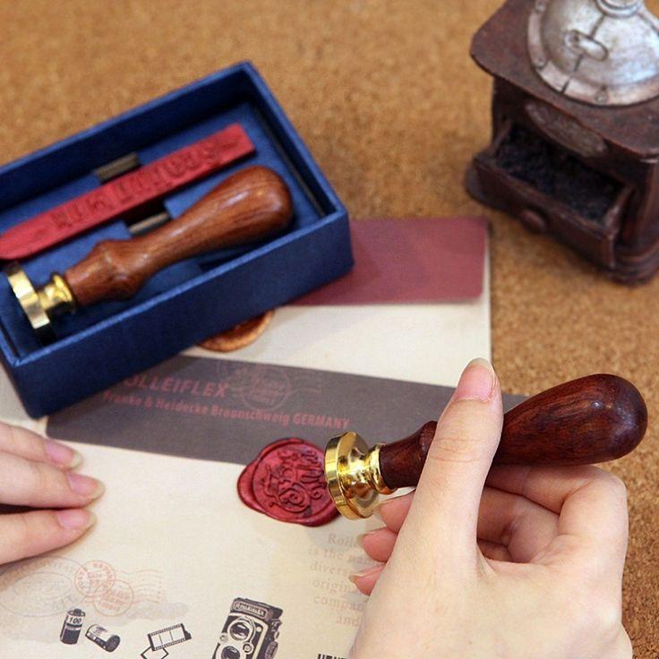 Новые Индивидуальные сургучной печати подарочная коробка медь печать с уплотнения Воск Лига, DIY подарок древних печать штамп комплект Винтаж и высокое качество