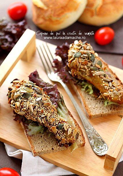 Copane de pui cu crusta de seminte