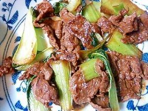牛肉とチンゲン菜のオイスター炒め