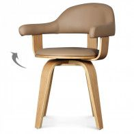 Chaise suédoise pivotante simili-cuir beige et bois