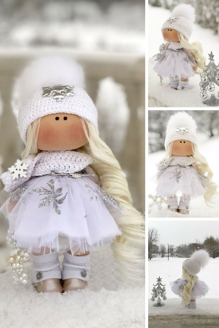 Winter Fabric Doll Christmas Rag Doll Textile Baby Doll Handmade Tilda Doll Interior Soft Doll Nursery Decor Doll White Love Doll Anastasia
