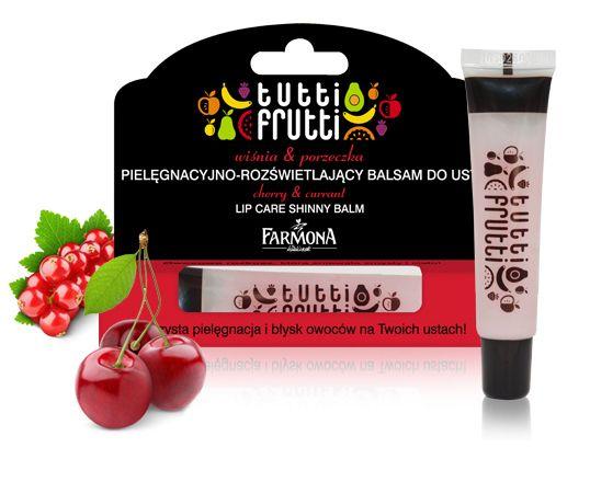 cherry & currant LIP CARE SHINNY BALM | Pielęgnacyjno-rozświetlający balsam do ust o blasku dojrzałej wiśni i aromatycznym zapachu orzeźwiającej porzeczki. Daj się ponieść owocowej przygodzie! Rozpieść zmysły soczystością chwili! ♥ http://farmona.pl/produkty/pielegnacja-twarzy/tutti-frutti-balsamy-ust/
