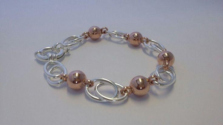 925 Sterling Silver & Rose Gold Bracelet
