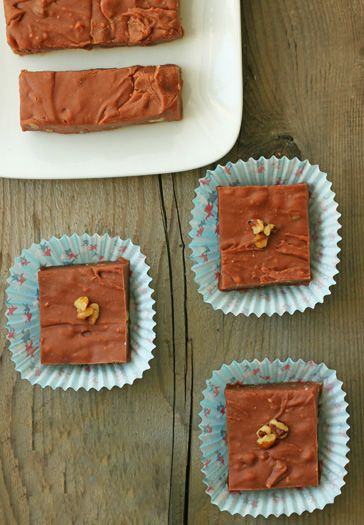 Velveeta Fudge. So creamy and delicious. And no, you don't taste the cheese, I promise! @DessertForTwo