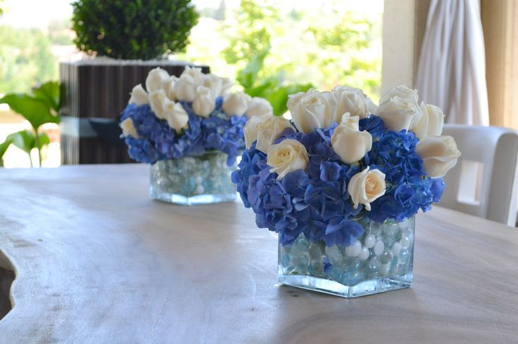 Floral baby boy shower centerpieces arrangement