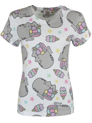 Indulge in some delicious treats with Pusheen the cat! This adorable tee features the now-famous feline lapping up huge bowls of ice cream and is guaranteed to make a 'sweet' addition to your wardrobe. Official merchandise.