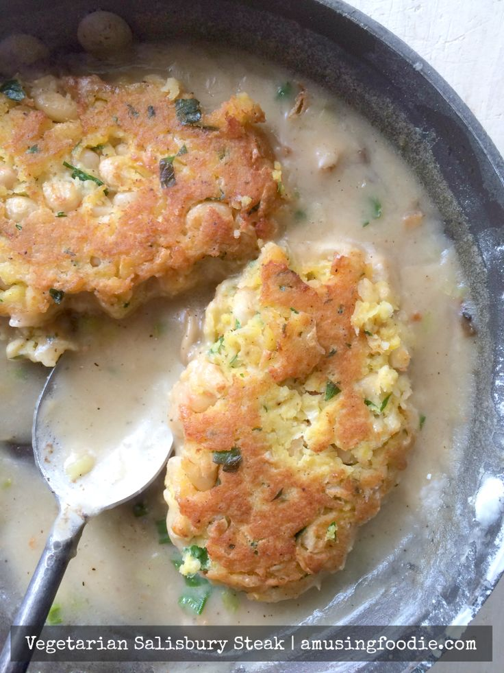 """This vegetarian Salisbury """"steak"""" is prepared the same way as the traditional recipe, including simmering in a savory gravy before devouring with creamy mashed potatoes."""