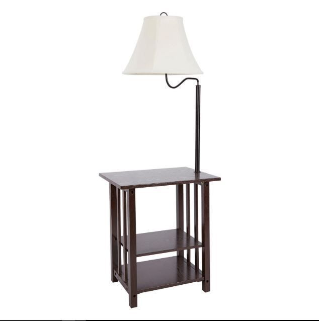 Small End Table End Table With Lamp Attached And Storage 3 Rack Floor Lamp
