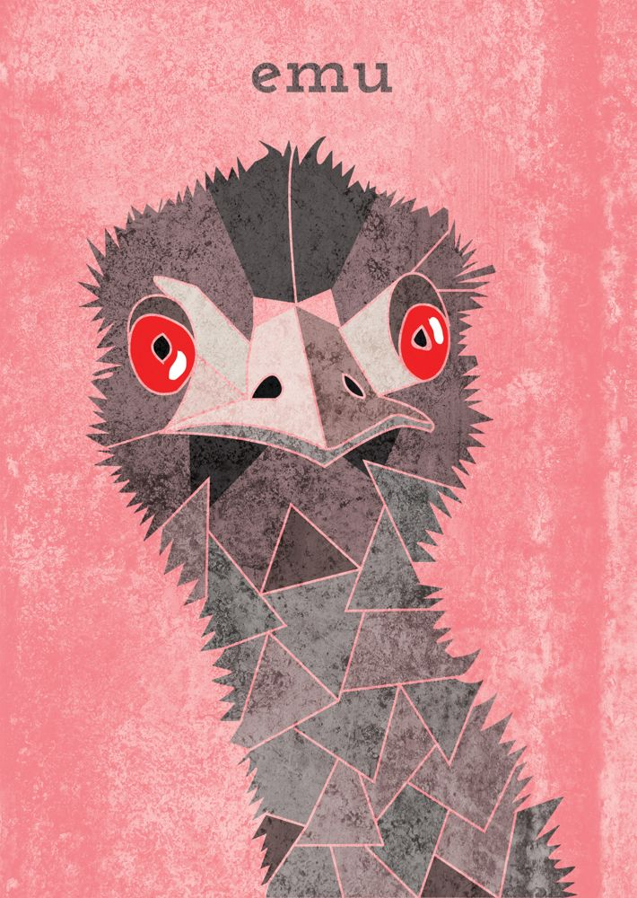 Emu, Geometric Illustration, Animal head www.alicemacleansmith.com  Copyright 2014 Alice Maclean Smith