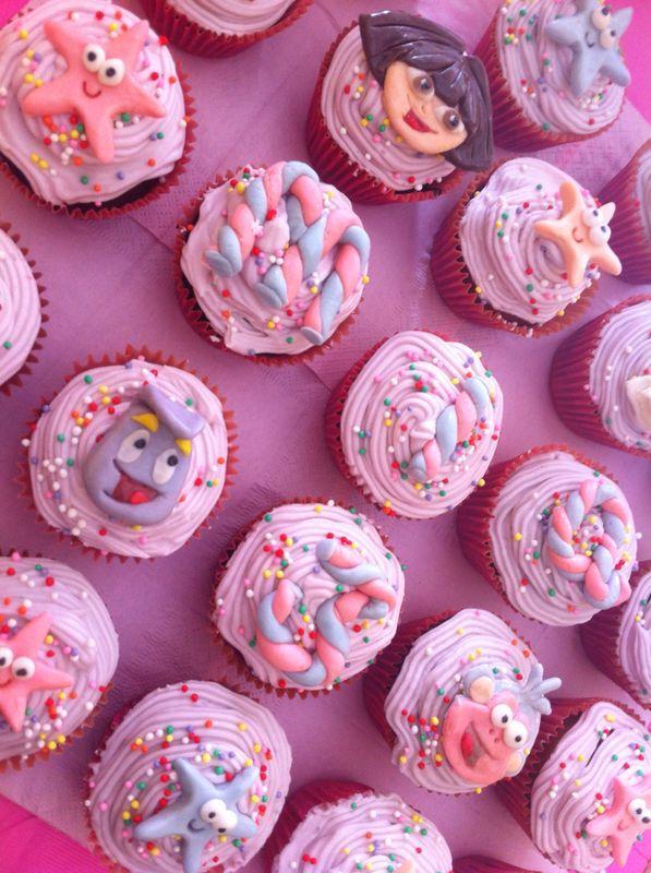 Dora Theme Birthday Party cupcakes