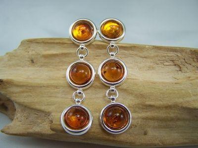 Amber drop down stud earrings - cognac colour stones.