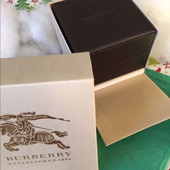 Burberry Authentic Watch Gift Box Burberry watch gift box. 2 left in stock. Includes Instruction manual & Warranty manual. Never used. (5.6 x 5.6 x 4.6 inches) Burberry Accessories Watches