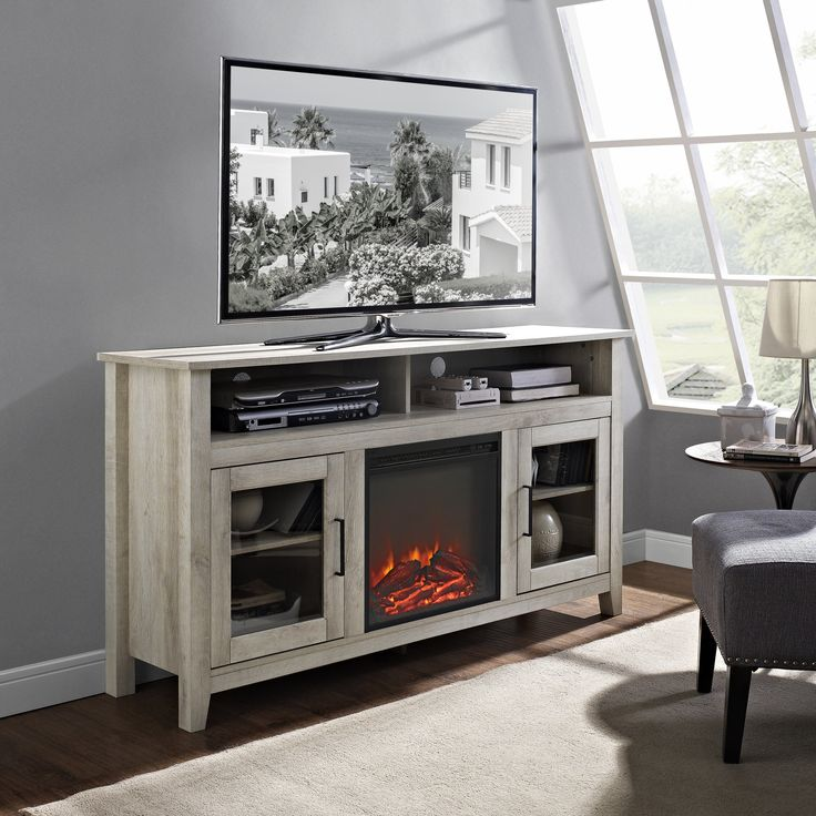 Highboy TV Stand with Electric Fireplace