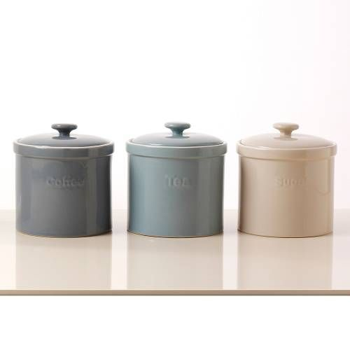Tea Coffee Sugar Storage Jars 3 Piece Set Bread Bins