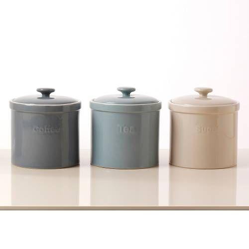 Tea, Coffee & Sugar Storage Jars 3 Piece Set   Bread Bins, Jars & Canisters from ProCook