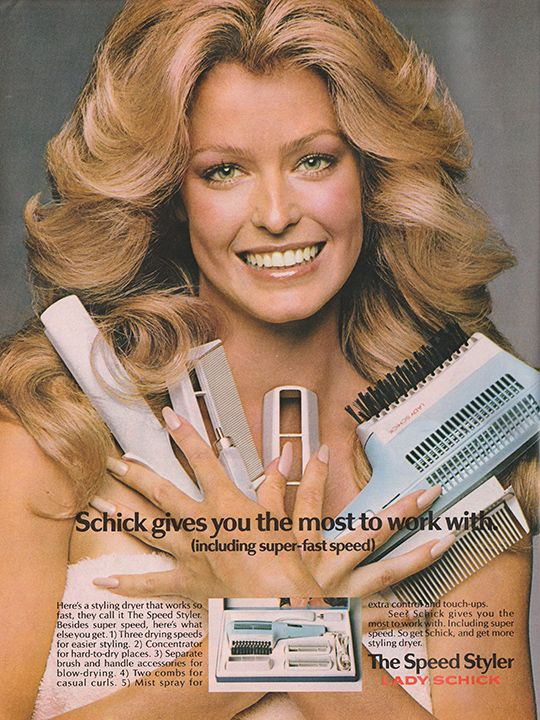 Farrah Fawcett and Cher Fan Page, justseventeen:    November 1973. 'Schick gives you...
