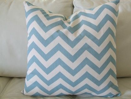 Beautiful Chevron Cushion Cover, Duck Egg Blue and Natural