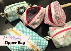 These 15 minute zipper bags are a easy sewing project and they make cute gifts.   www.huntergirlsdiylife.com