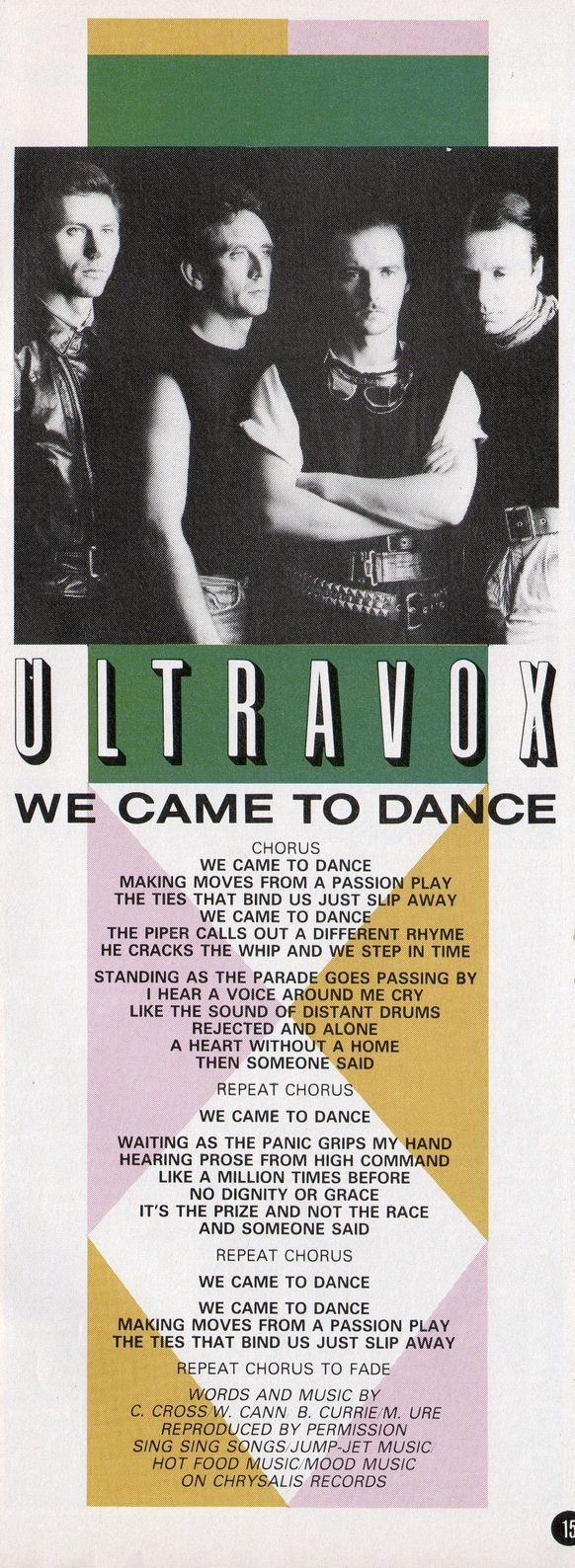 ULTRAVOX - We Came To Dance, 1983