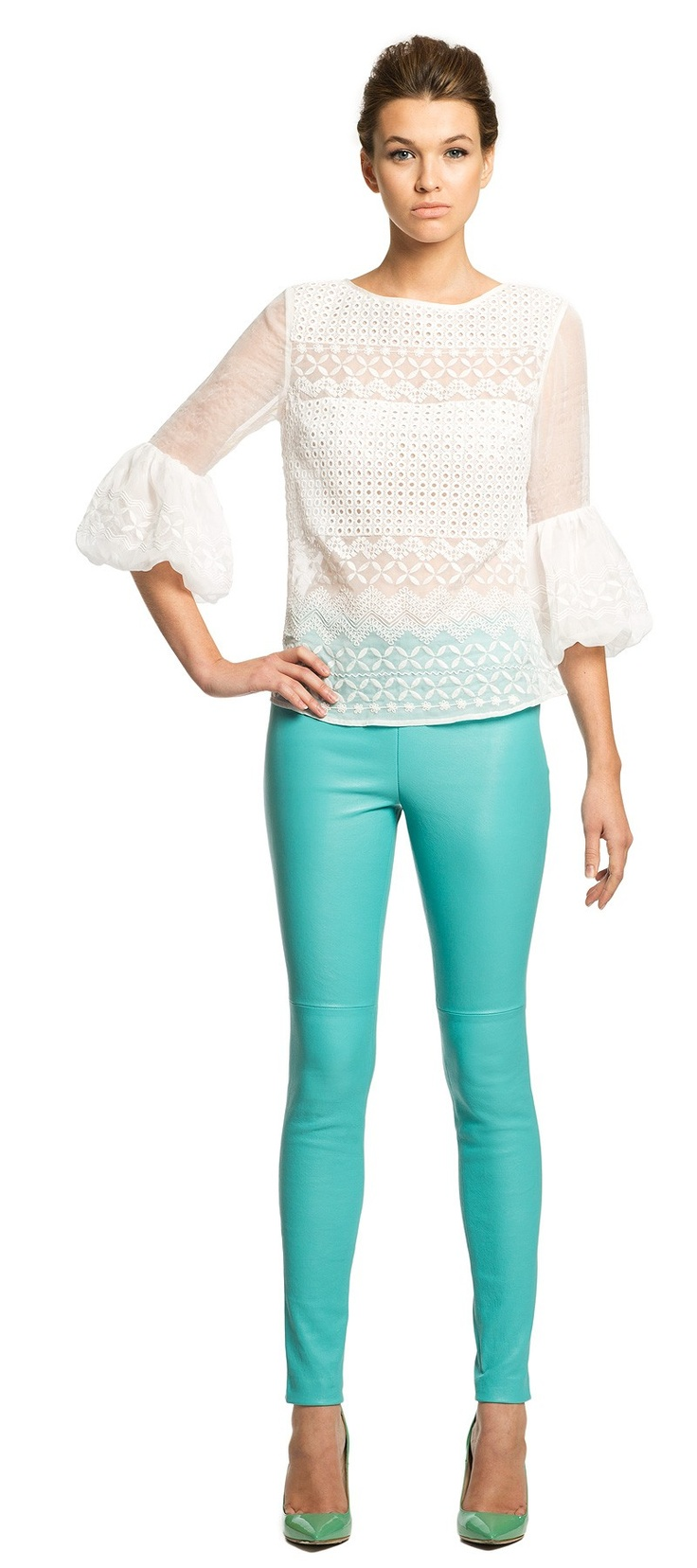 pretty lace blouse // love the turquoise pants + green heels too