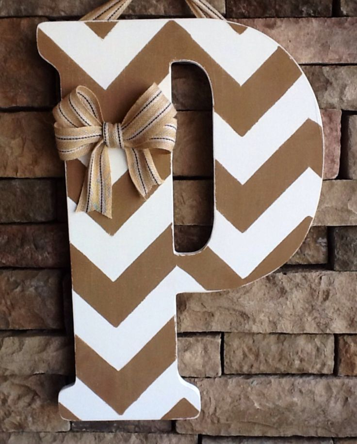 Chevron Wooden Letter, Large Wooden Letter, Door Hanger, Wedding Gift by SewSimple4you on Etsy https://www.etsy.com/listing/204055204/chevron-wooden-letter-large-wooden
