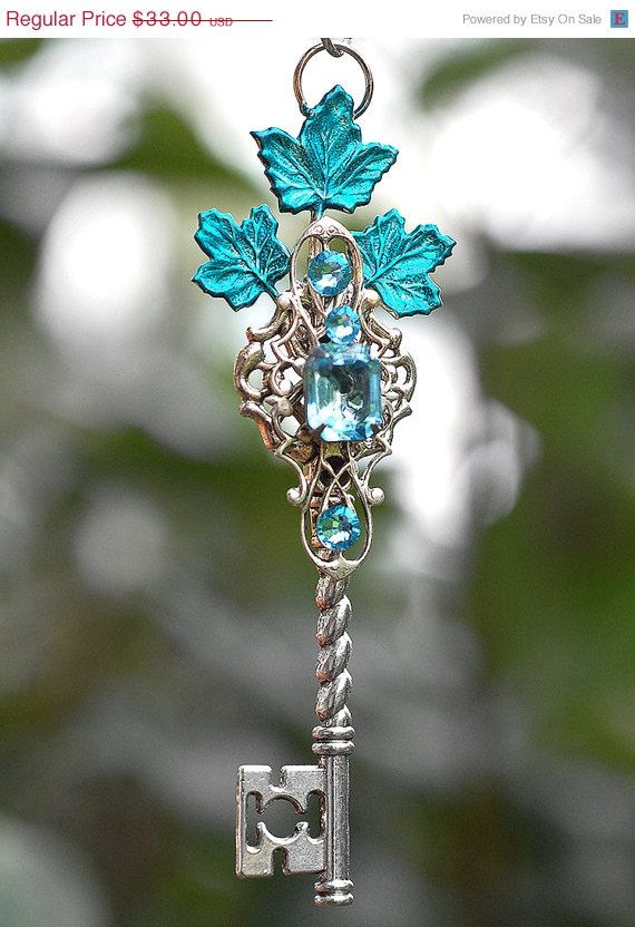 Dog Days of Summer Sale Blue Leaves Key Necklace by KeypersCove, $29.70