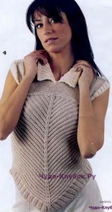 313 Пуловер без рукавов | ЧУДО-КЛУБОК.РУ | топы кофты жакеты | Постила