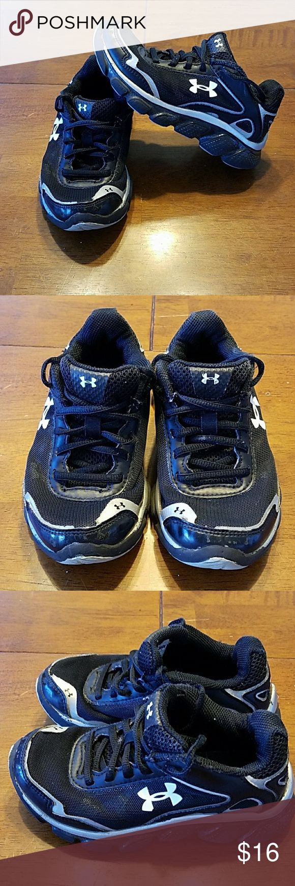 Under Armour black tennis shoes toddler size 11 Good used condition. Very clean! Under Armour Shoes Sneakers #tennisshoes