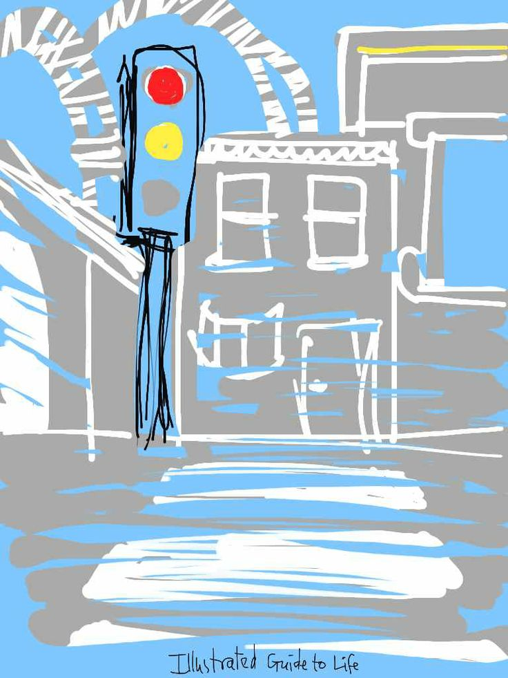 Mindfulness walking meditation: Breathe where you live* * *  Philip Cowell walks us round his London locale, and suggests six Mindfulness meditation experiments http://illustratedguidetolife.com/2014/06/02/mindfulness-walking-meditation-breathe-where-you-live/ Illustration drawing print painting: traffic light zebra crossing building railway bridge