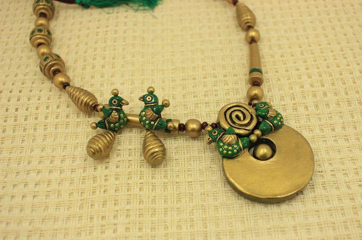 Elagant sparrow terracotta jewellery set - Claysphere