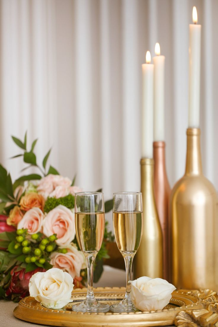 7 Gorgeous Ideas For Metallic Wedding Theme Gold Spray Painted