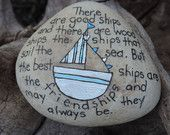 Lake Erie beach stone hand painted with inspirational saying, friendship.