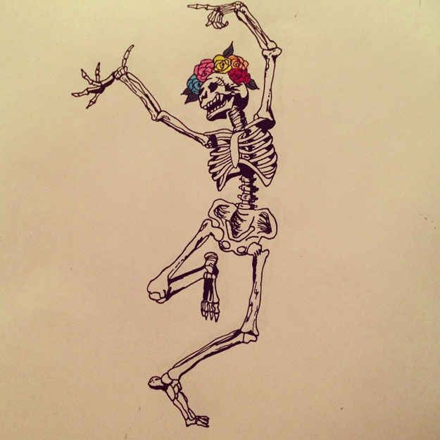 They put flowers in their hair and dance like they just don't care. | 16 Reasons Those Day Of The Dead Skeletons Have The Best Lives
