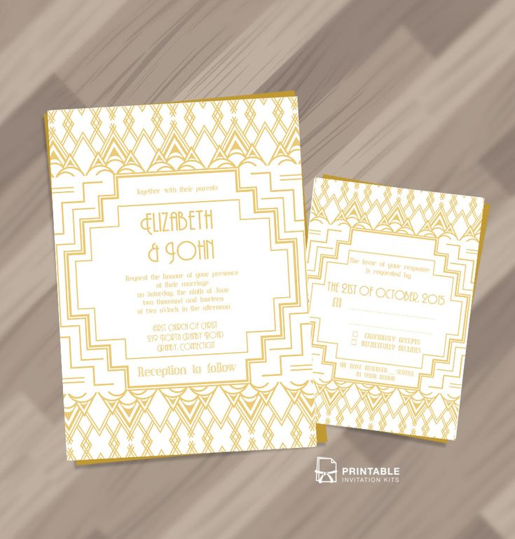 free pdf download gatsby inspired art deco invitation and rsvp set for customizations - Wedding Invitations Free