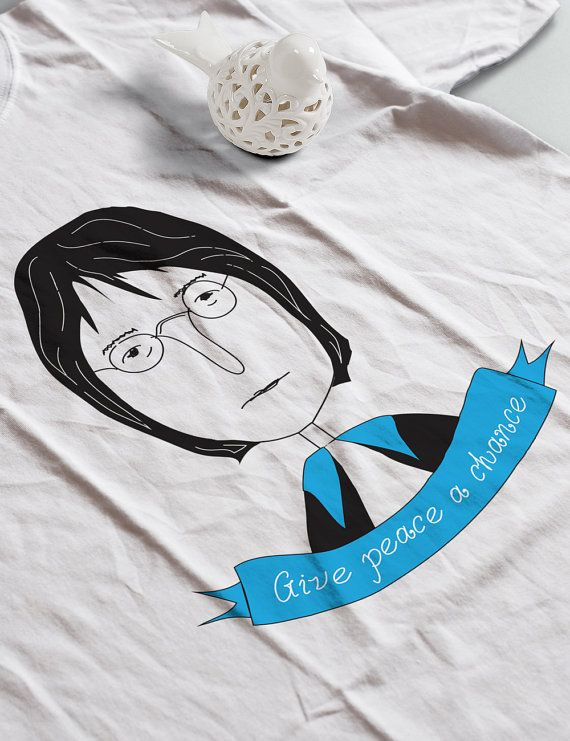 John Lennon Portrait Organic t-shirt  Beatles Quote  by RooftopCo